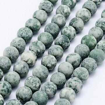 Natural Green Spot Jasper Beads Strands, Frosted, Round, 10~10.5mm, Hole: 1mm; about 38pcs/strand, 15.7inches(40cm)(G-F518-26-10mm)