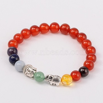 Stretch Buddhist Jewelry Multi-Color Gemstone Chakra Bracelets, with Tibetan Style Beads, Antique Silver, Red Agate, 55mm(BJEW-JB01690-05)