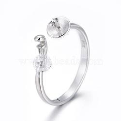925 элементы кольца из манжеты из стерлингового серебра, за половину пробурено бисера, с кубического циркония, платина, Размер 6, 16.5 мм; Лоток: 5 мм; контактный: 0.8 мм(STER-F048-19P)