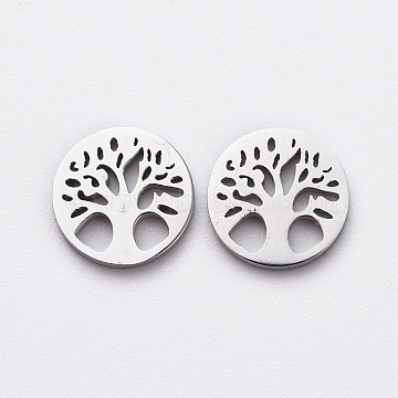 304 Stainless Steel Filigree Joiners, Manual Polishing, Flat Round and Tree, Stainless Steel Color, 7.5x1mm(X-STAS-G215-19P)