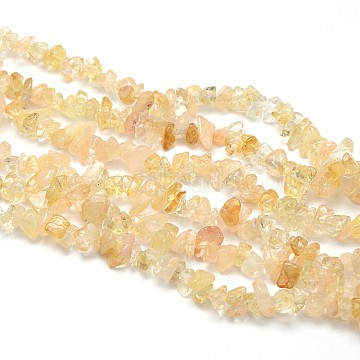Natural Citrine Beads Strands, Dyed & Heated, Chips, 5~8x5~8mm, Hole: 1mm, about 31.5 inches(X-G-O049-B-29)