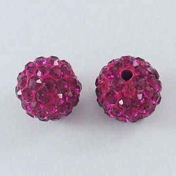 Perles de boule pavé disco , Perles de strass en argile polymère, rond, fuchsia, 10mm, Trou: 1.5mm(X-RB-A130-10mm-16)