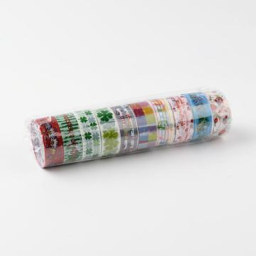 Mixed Pattern DIY Scrapbook, Decorative Adhesive Tapes, Mixed Color, 15mm; about 2.3m/roll(DIY-F004-02)