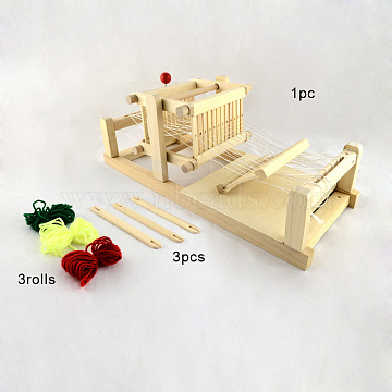 Wood Knitting Looms with Yarns and Shuttles, Beige, 365x150x140mm(TOOL-R059-01)