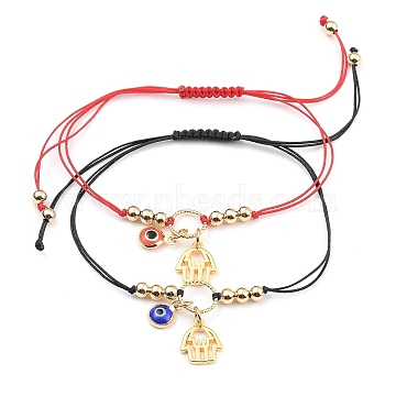 Braided Bracelets, with Nylon Thread, Handmade Evil Eye Lampwork Charms & Hamsa Hand Brass Pendants & Brass Linking Rings, Mixed Color, 5/8 inches~3-3/4 inches(1.5~9.5cm), 2pcs/set(X-BJEW-JB05347)