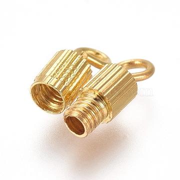 Brass Screw Clasps, Tube, Golden, 14mm, Hole: 1.8mm, Clasp: 7x3mm(X-KK-TAC0002-68A-G)