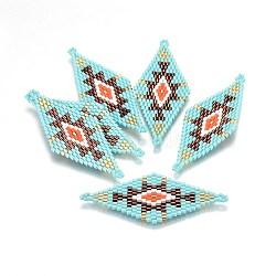 MIYUKI® & TOHO® connecteurs japonaises en perles rocailles manuells, motif de tissage, losange, colorées, 60~61x24.5~25x1.7mm, Trou: 1.6mm(SEED-A029-AC01)