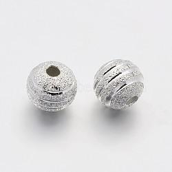 Perles rondes en laiton texturées, argenterie, 8mm, Trou: 1.2mm(X-KK-N0061-01S-8mm)