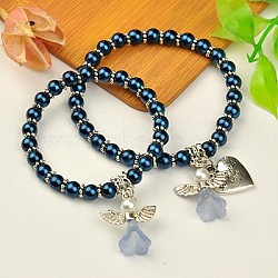 Lovely Wedding Dress Angel Jewelry Sets for Mother and Daughter, Stretch Bracelets, with Glass Pearl Beads and Tibetan Style Beads, Marine Blue, 45mm and 55mm inner diameter(BJEW-JB00728-05)