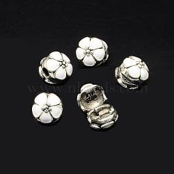 Émail en alliage fermoirs européennes, fleurs perles grand trou, argent antique, blanc, 11x12mm, Trou: 3mm(X-MPDL-R036-40I)