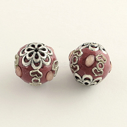 Round Handmade Indonesia Beads, with Antique Silver Plated Alloy Cores, 18~19x20mm, Hole: 2mm(X-IPDL-Q036-01G)