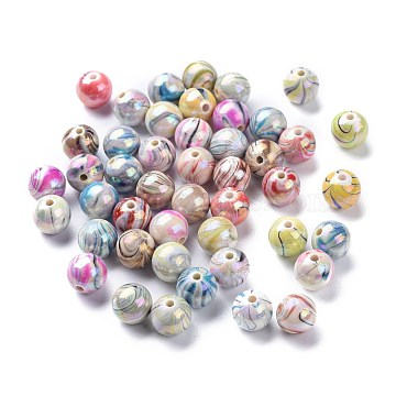 AB Color Wave Printed Acrylic Beads, Round, Mixed Color, 10mm, Hole: 2mm(X-MACR-Q151A-M)