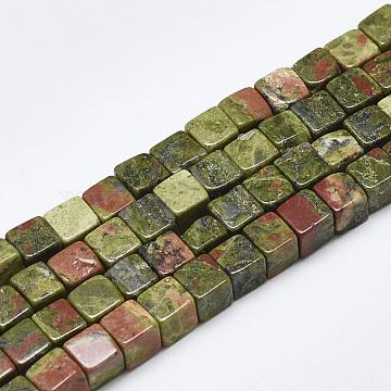 6mm Cube Unakite Beads