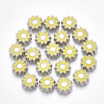 Alloy Enamel Cabochons, Flower, Yellow, Platinum, 8.5x2mm(PALLOY-T054-16)