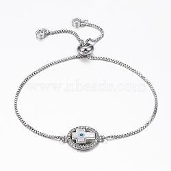 bracelets réglables en laiton à micro-pavé de zircons cubiques, bracelets de slider, avec des chaînes de boîte en laiton, avec coquille, ovale et croix, platine, 10-1 / 4 (260 mm)(BJEW-G583-08P)