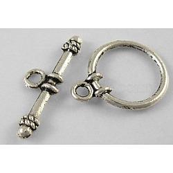 Fermoirs toggle en argent tibétain , sans plomb, sans cadmium et sans nickel, rond, argent antique, tour: environ 13 mm de large, Longueur 16mm, bar: environ 19 mm de long, Trou: 3mm(X-LF1180Y-NF)