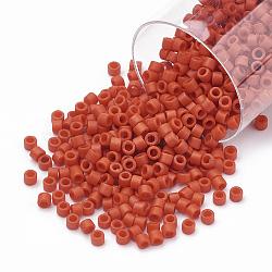 Miyuki® delica beads, perles de rocaille japonais, 11 / 0, (db 0795) cinabre opaque semi-dépoli teint, 1x1.5 mm, trou: 0.5 mm; sur 2000 pcs / bouteille(SEED-S015-DB-0795)