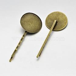 Accessoires de cheveux antique accessoires de bobby épingle à cheveux en fer, en laiton rondes plat supports cabochons de lunette, sans nickel, bronze antique, plateau: 25 mm; 65x26x5 mm(MAK-J007-26AB-NF)