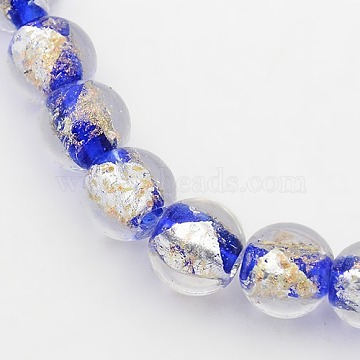 Handmade Gold and Silver Foil Glass Round Beads Strands, Blue, 12mm, Hole: 2mm; about 34pcs/strand, 14.56inches(FOIL-L002-12mm-07)