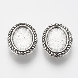 Tibétain charmes de diapositives en alliage de style cabochon paramètres, sans plomb, ovale, argent antique, plateau: 13x18 mm; 25x20x7.5 mm, trou: 3 mm(X-TIBE-Q086-070AS-LF)