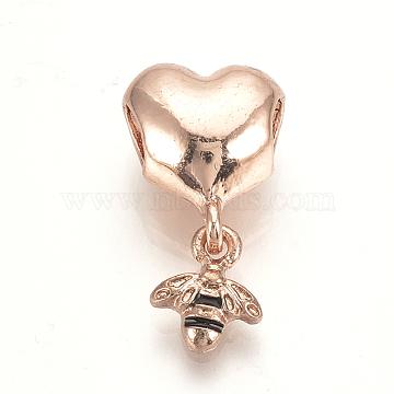 21mm Heart Alloy+Enamel Dangle Beads
