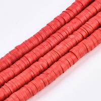 Eco-Friendly Handmade Polymer Clay Beads, Disc/Flat Round, Heishi Beads, Red, 6x1mm, Hole: 2mm, about 380~400pcs/strand, 17.7 inches
