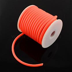 Cordon en caoutchouc synthétique, creux, enroulé aurond de plastique blanc bobine, orange rouge , 5mm, trou: 3 mm; environ 10 m / rouleau(RCOR-R001-5mm-06)