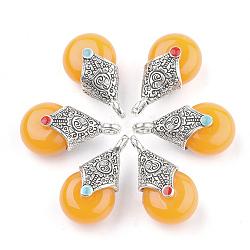 pendentifs en résine de style tibétain, avec alliage et émail, déposer, argent antique, d'orange, 28x16x14 mm, trou: 2~3.5 mm(RESI-T022-16B)