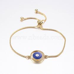 Adjustable Brass Micro Pave Cubic Zirconia Slider Bracelets, Bolo Bracelets, with Enamel, and Brass Box Chains, Eye, Blue, Golden, 10-1/4 inch(260mm)(BJEW-F302-21G)