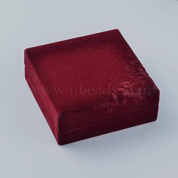 Square Velvet Bracelets Boxes, Jewelry Gift Boxes, Flower Pattern, Red, 10.1x10x4.3cm(VBOX-D002-01)