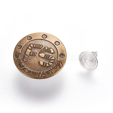 Iron Jeans Buttons, Garment Accessories, Flat Round with Word Pattern, Antique Bronze & Stainless steel Color, 20x7mm, Hole: 1.5mm, Pin: 0.9~2.5mm(IFIN-WH0038-01F)