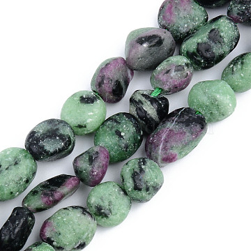 Natural Ruby in Zoisite Beads Strands, Nuggets, 5~13x5~10x3~8mm, Hole: 1mm; about 40~60pcs/strand, 14.57 inches~15.74 inches(37~40cm)(G-S359-161)