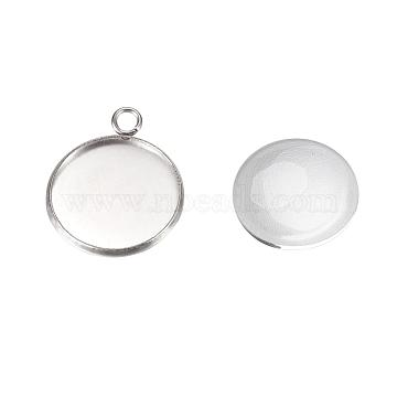 Pendant Making Sets, with 304 Stainless Steel Pendant Cabochon Settings and Glass Cabochons, Flat Round, Stainless Steel Color, Tray: 20mm, 26.5x22x2mm, Hole: 3mm, 19.5~20x5.5mm(DIY-X0288-70P)