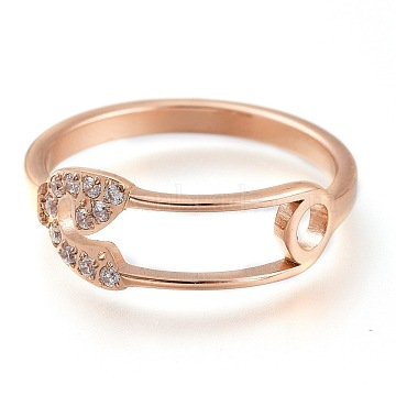 304 Stainless Steel Finger Rings, with Clear Cubic Zirconia, Wide Band Rings, Safety Pin Shape, Rose Gold, US Size 6~9, Inner Diameter: 16~19mm(RJEW-F110-05RG)