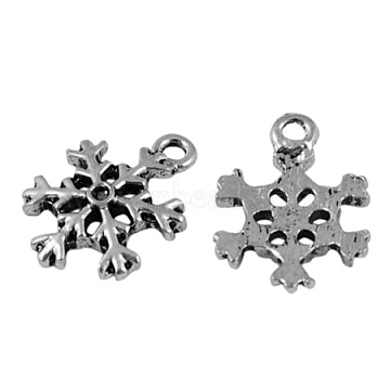 Tibetan Style Alloy Charms, Lead Free & Cadmium Free & Nickel Free, Antique Silver, Snowflake, 13mm in diameter, 3mm thick, hole: 2mm(X-QA-400Y-NF)