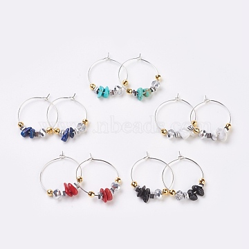 Chip Natural & Synthetic Gemstone, Faceted Glass Wine Glass Charms, with Brass Hoops and Sterling Silver Spacer Beads, 32mm; Pin: 0.6mm(EJEW-JE02746)