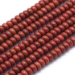"""Chapelets de perles en jaspe rouge naturel, rondelle, 6x4mm, trou: 1mm; environ 96 pcs/chapelet, 15.94"""" (40.5 cm)(G-E507-21A)"""