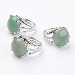 Adjustable Natural Green Aventurine Finger Rings, with Brass Findings, 17.5mm
