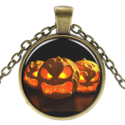 Halloween Theme Glass Pendant Necklaces, with Alloy Findings, Flat Round with Pumpkin, Antique Bronze, 17.7