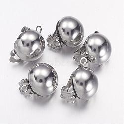 Boucles d'oreilles clips en laiton platine pour bijoux d'oreilles non percées, 20x13mm, Trou: 3mm(X-KK-E031-N)