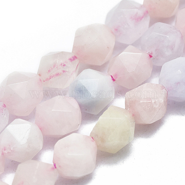Natural Morganite Beads Strands, Faceted, Round, Star Cut Round Beads, 7~8mm, Hole: 1mm, 14.5''~15.7inches(37~40cm); about 48~54pcs/Strand(G-K303-B03-8mm)