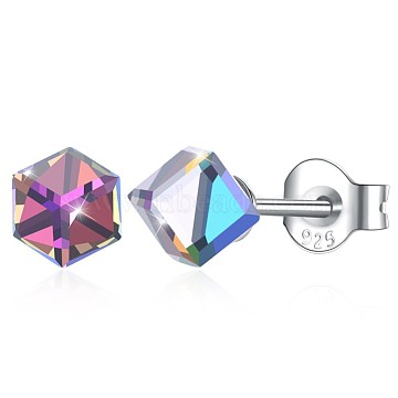 925 Sterling Silver Stud Earrings, with Austrian Crystal, Cube, Carved 925, Platinum, Colorful, 4x4mm(EJEW-BB30560-G)