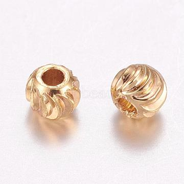 Brass Corrugated Beads, Round, Long-Lasting Plated, Real 24K Gold Plated, 3x2.5mm, Hole: 1mm(KK-P117-12G)