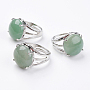 LightGreen Green Aventurine Finger Rings(X-RJEW-F075-01K)
