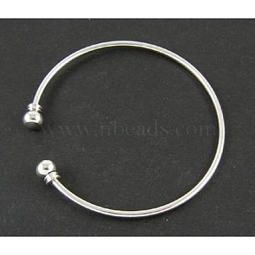 Adjustable Brass Torque Cuff Bangle Making, Platinum, 54mm, 3mm, Removable Ball Beads at the end: about 8mm(X-KK369)