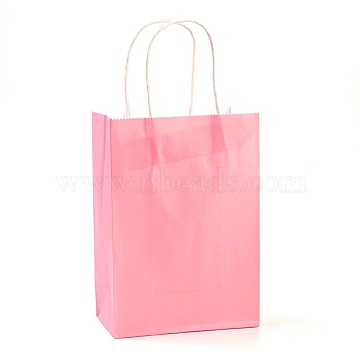 Pure Color Kraft Paper Bags, Gift Bags, Shopping Bags, with Paper Twine Handles, Rectangle, Pink, 27x21x11cm(AJEW-G020-C-11)