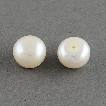 Grade AAA Natural Cultured Freshwater Pearl Beads, Half Drilled, Flat Round, White, 7~7.5x5mm, Half Hole: 1mm(X-PEAR-R008-7~7.5mm-01)