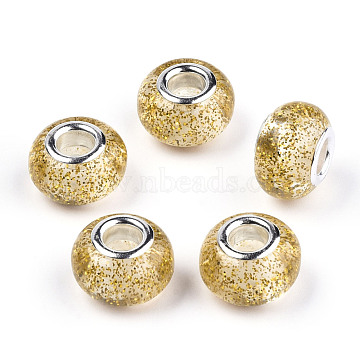 Epoxy Resin European Beads, Large Hole Beads, with Glitter Powder and Platinum Tone Brass Double Cores, Rondelle, Gold, 14x9mm, Hole: 5mm(RPDL-N015-02H)