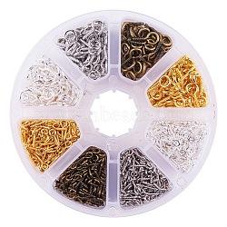 Boulon à œil à vis en fer de longueur 10 / 13mm multicolore, environ 1840 pcs / boîte, couleur mixte, 10~13x4~6.5x1~1.5mm, Trou: 2~4mm(IFIN-PH0010-02)