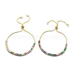 """Bracelets coulissants en laiton, bracelets bolo, avec des chaînes de coupelles en zircone cubique et des chaînes, or, 10-7/8"""" (27.6 cm)(BJEW-I272-01B)"""